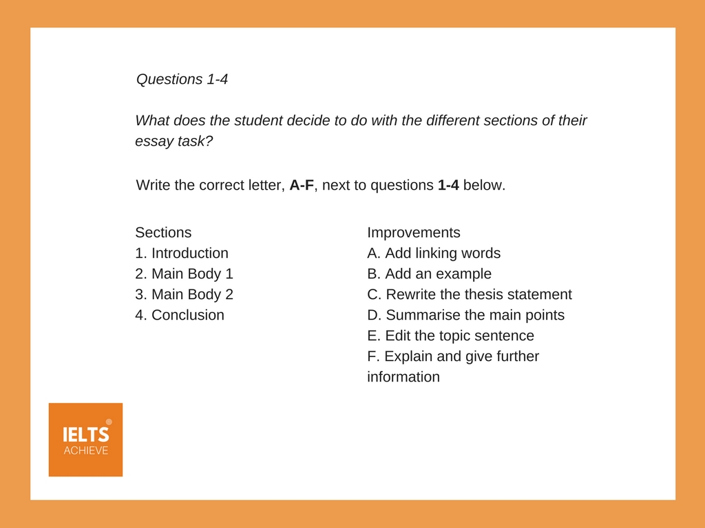 IELTS matching question example