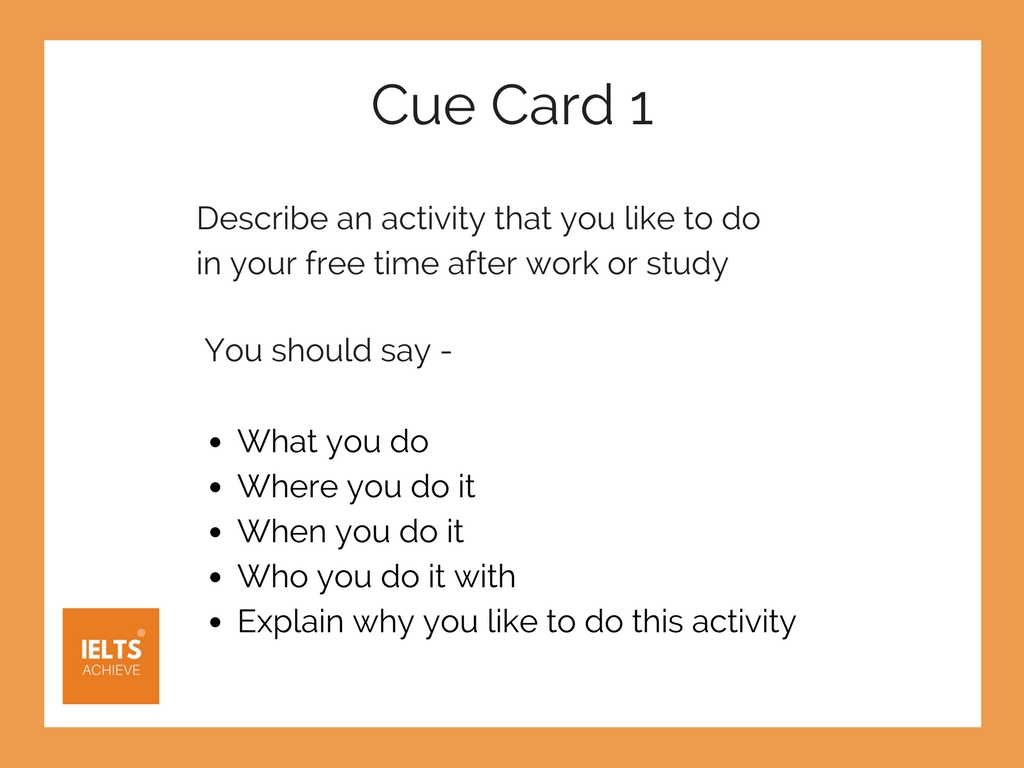 activity cue card for IELTS speaking part 2