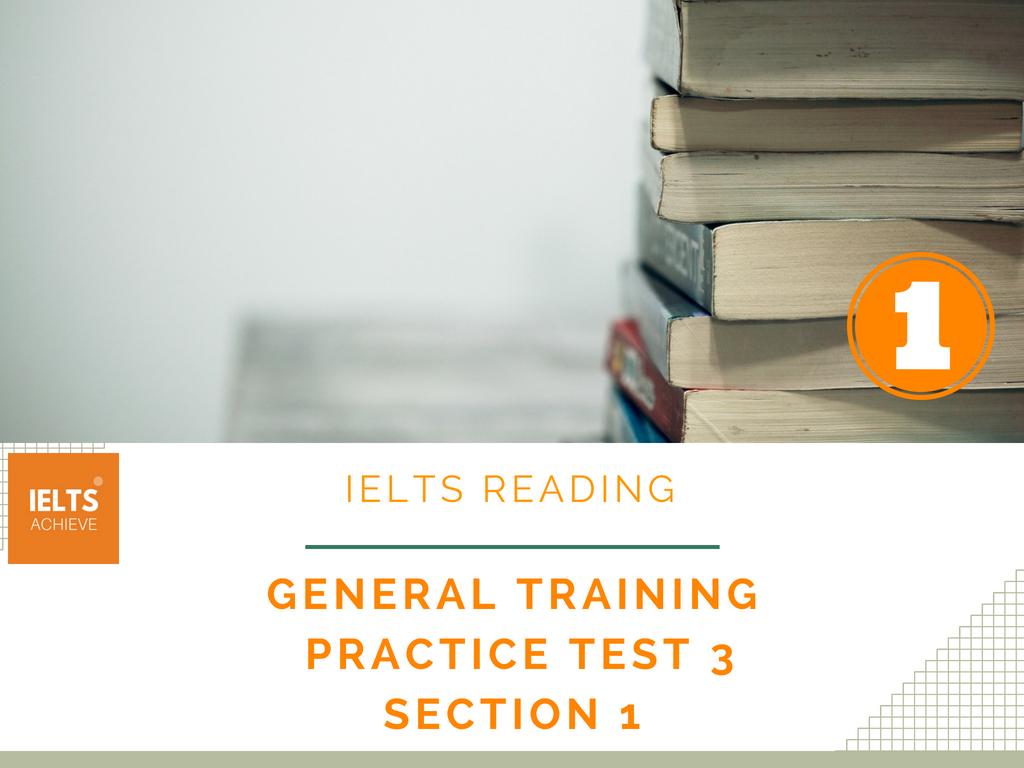 IELTS Reading general training practice test