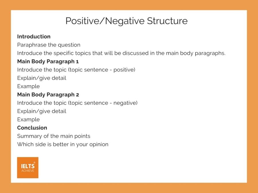 IELTS positive negative essay structure