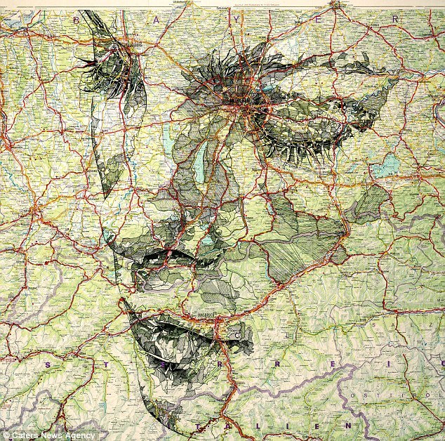 Ed Fairburn makes faces out of maps.