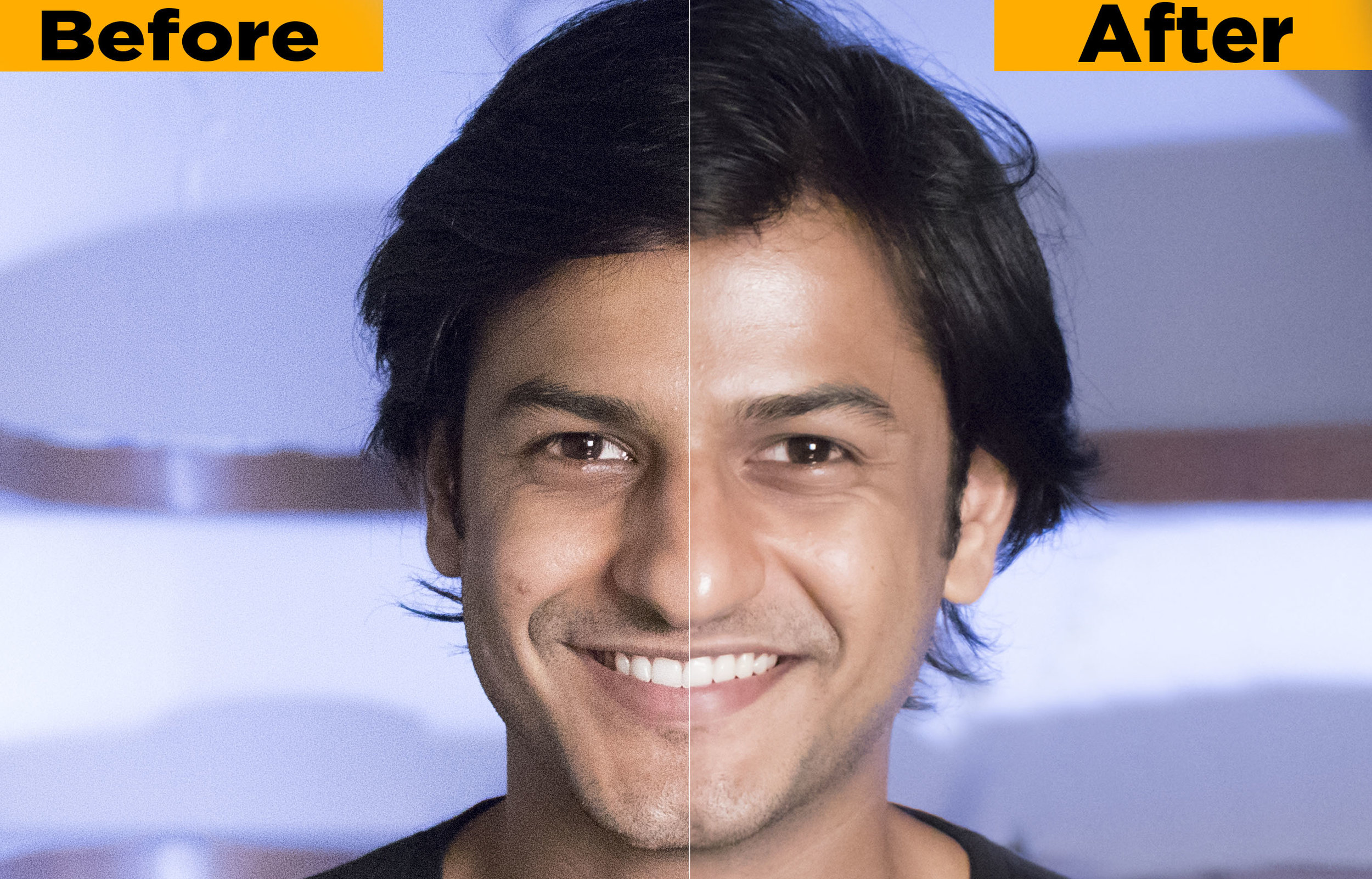 A before and after comparison of noise-reduction in Adobe Lightroom.