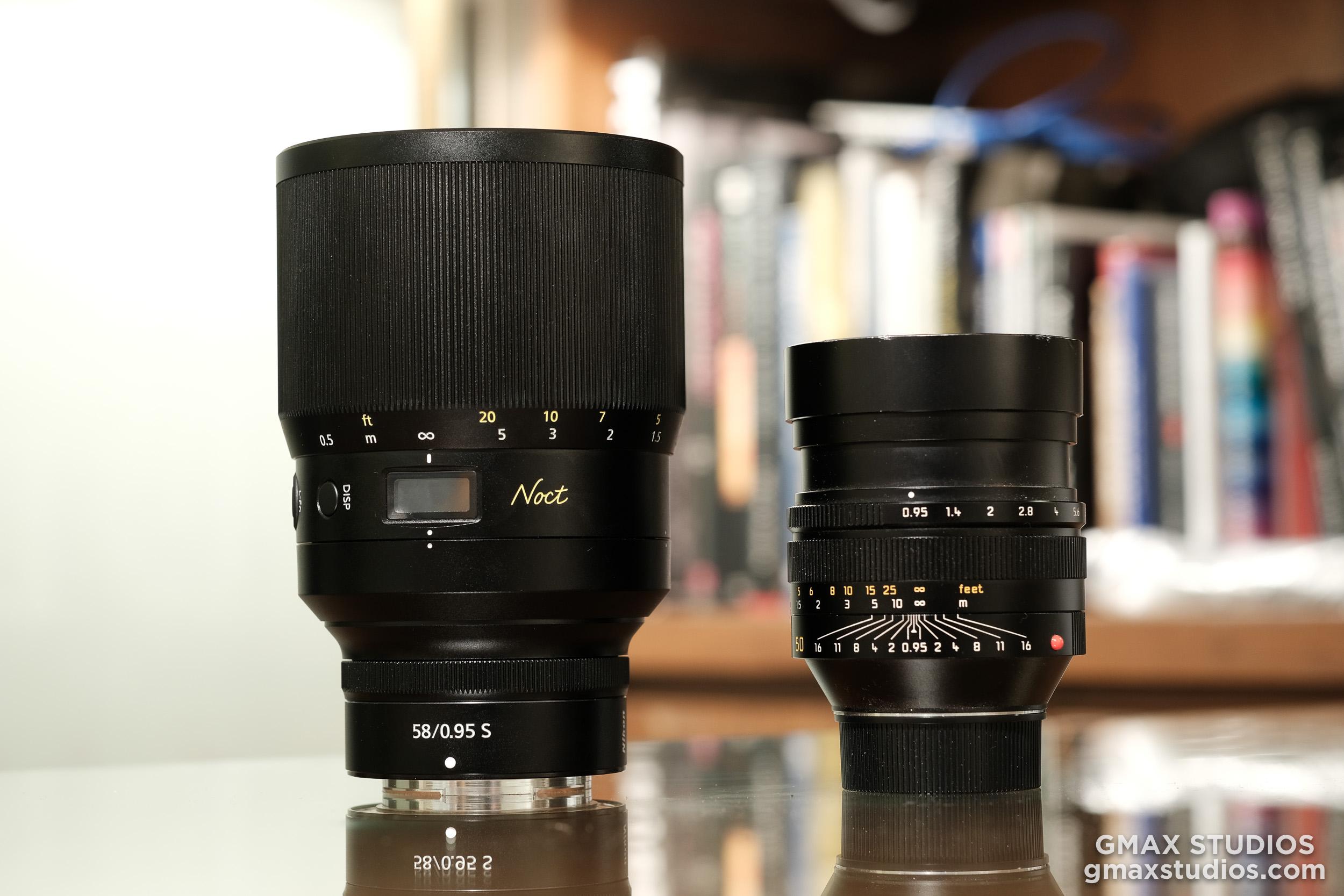 Nikon Noct 58mm vs Leica Noctilux 50mm (Both ).95) size comparison