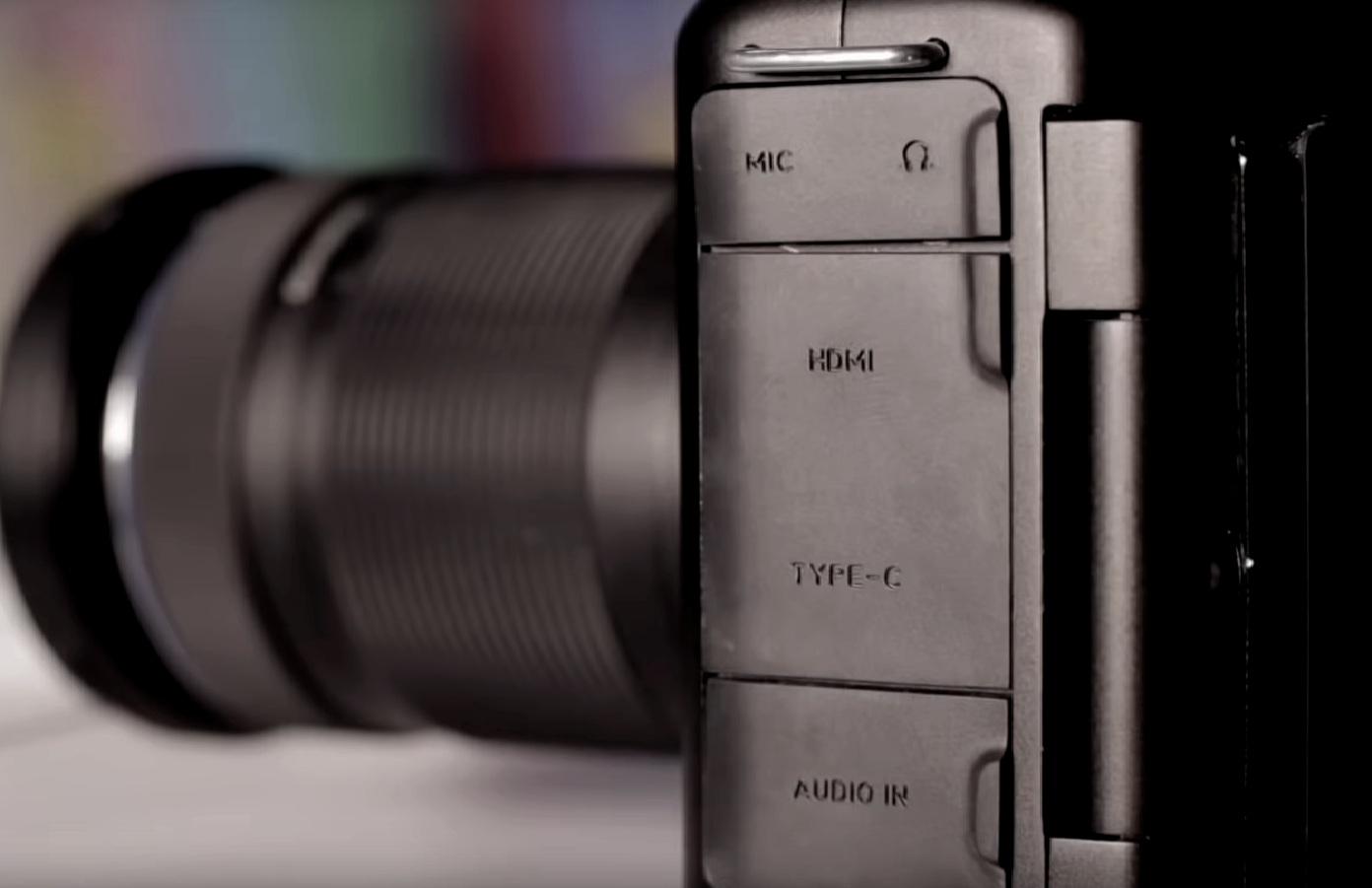 It has a Mini XLR port, full-size HDMI, USB-C, headphone, and a microphone jack.