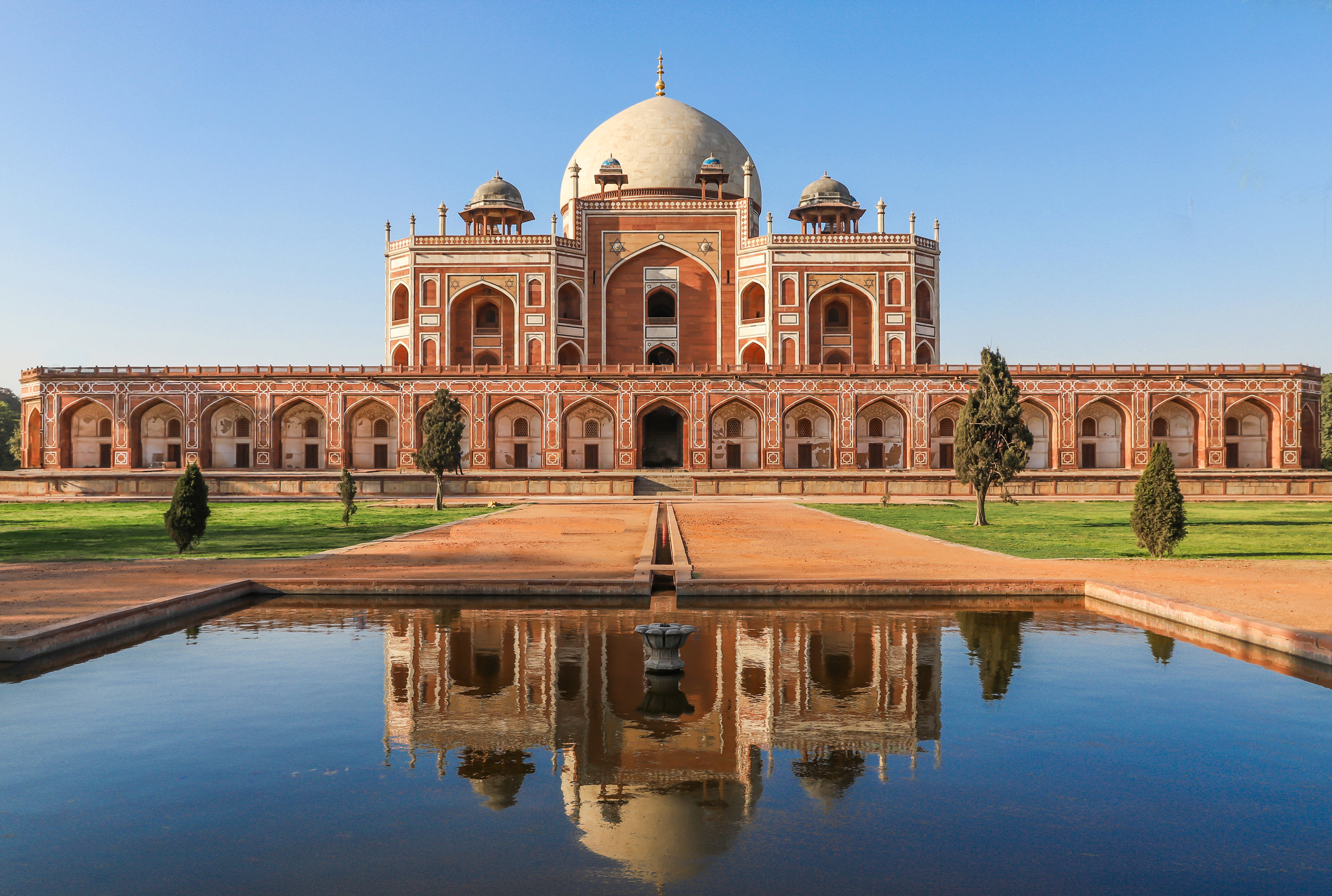 This is  Humayun's Tomb . It is located in the Nizamuddin East area in Delhi. The monument is quite crowded on the weekends. I used a tripod to take 5 shots and 5 second intervals and stacked them in Adobe Photoshop to remove people.