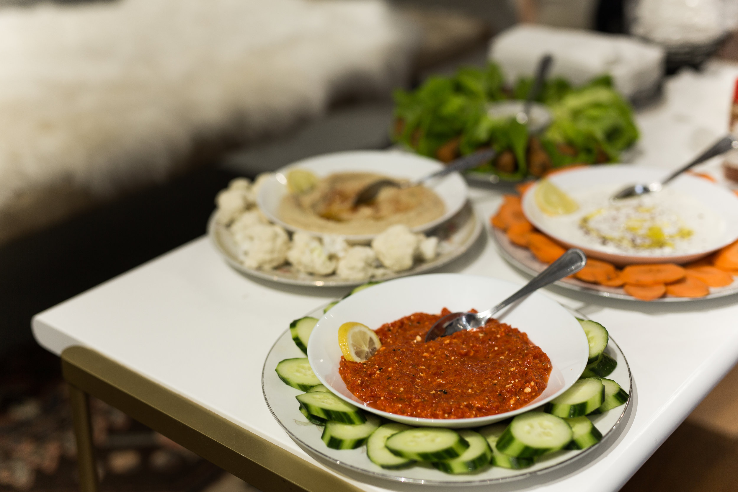 There is always enough for everyone to get filled on fresh veg and pita, with all the flavorful dips!!!!