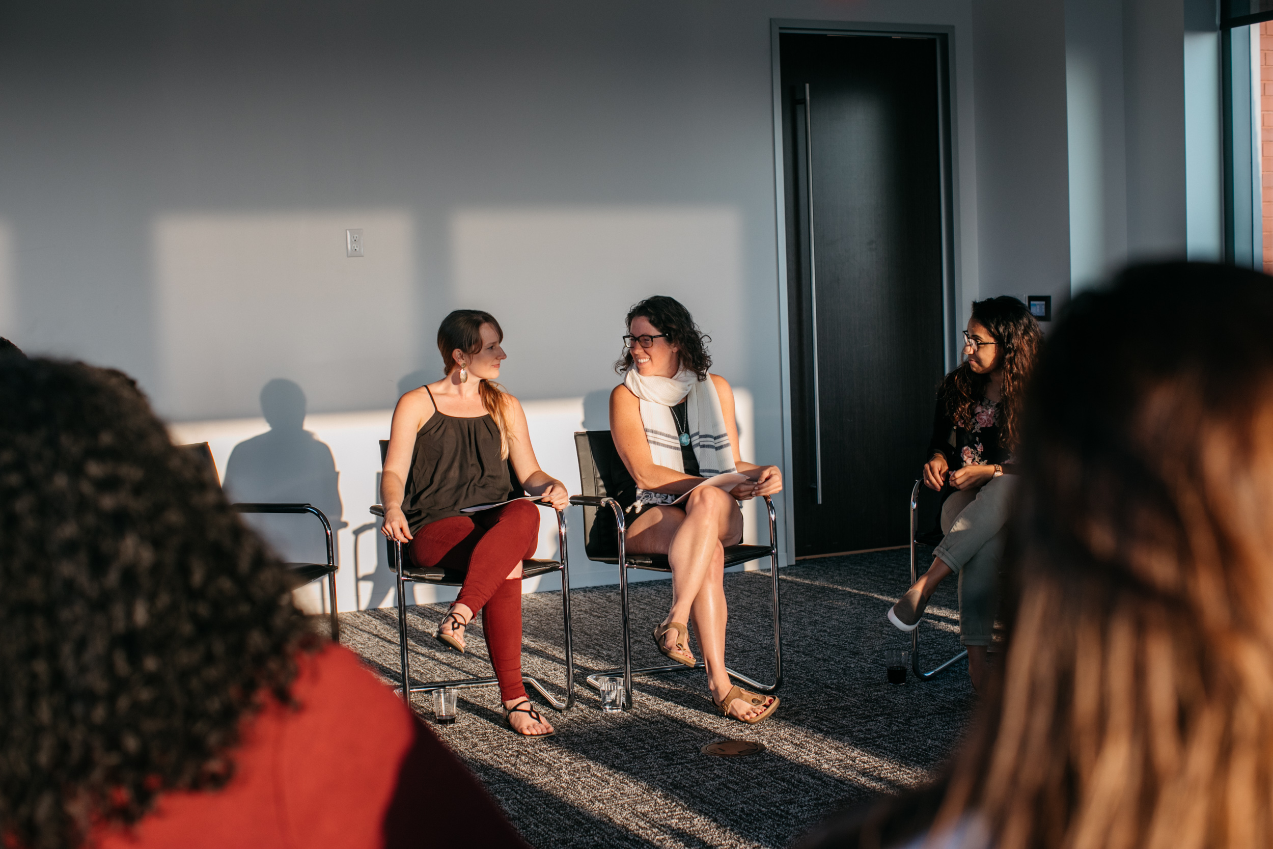 """From left to write: Life Coaches Megan Morrison and Catherine Wood chatting over their """"nervousness"""" from leading their first all women's Authentic Relating Games."""