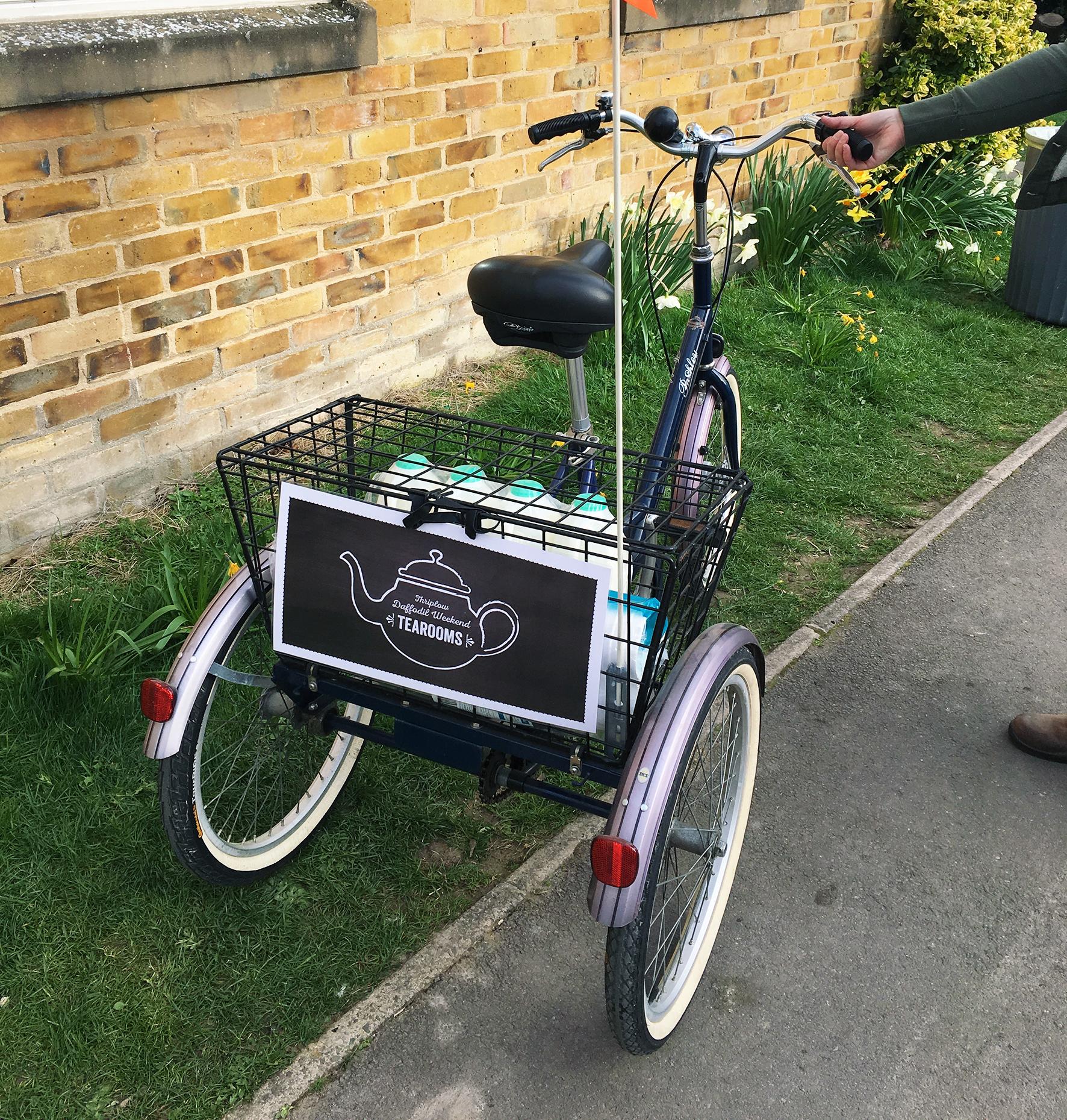 The new tea room bike helps transport urgent supplies around the village