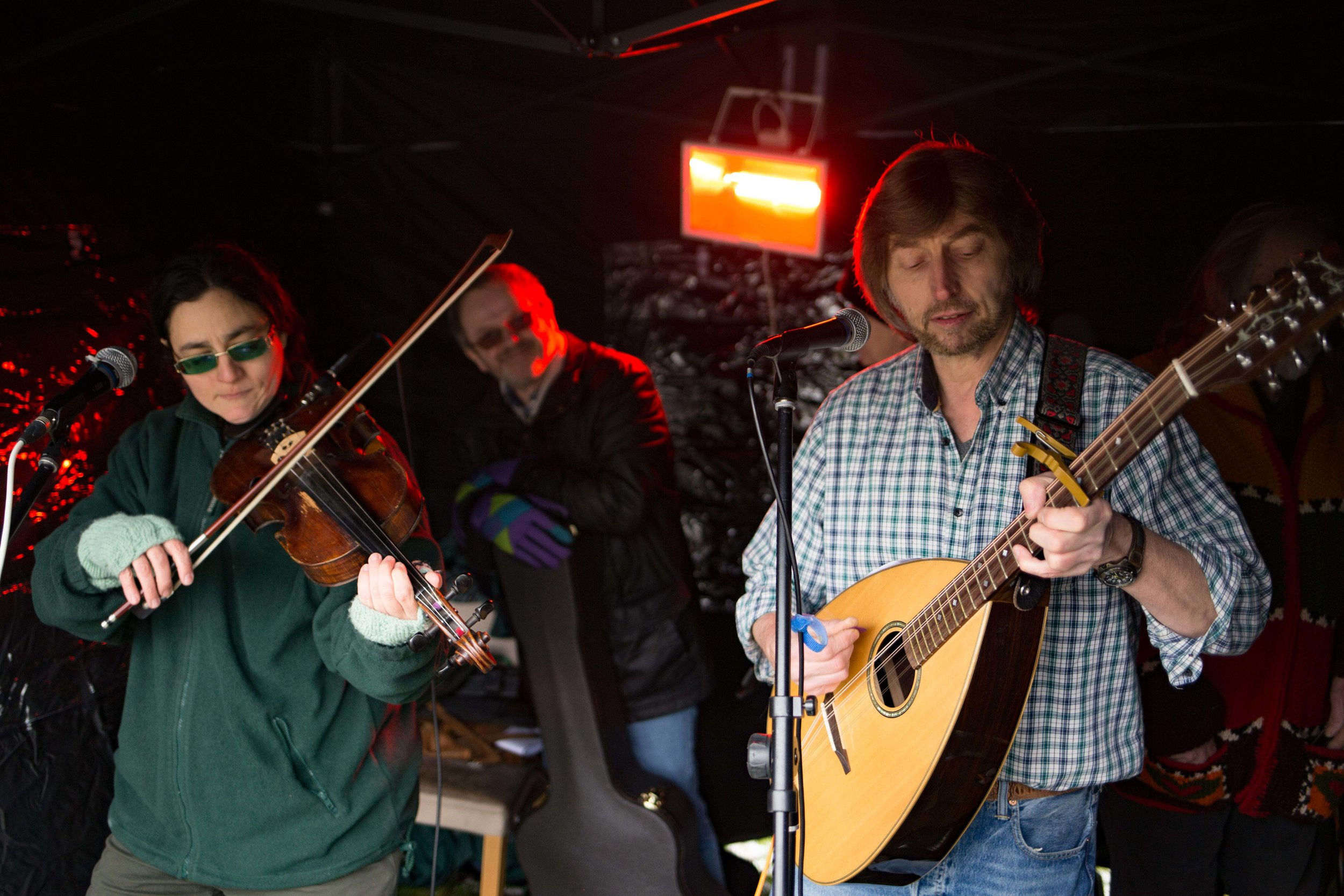 The folk busking tent but The Green Man pub