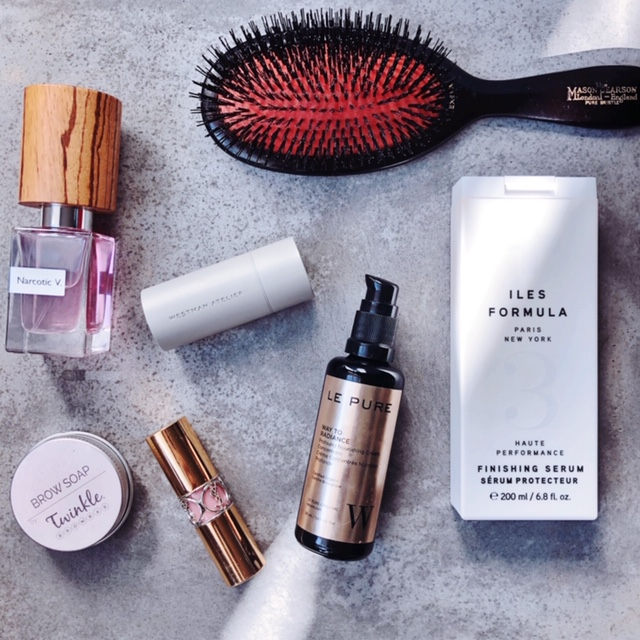 Mason Pearson Brush  Iles Formula, Finishing Hair Serum  Gucci Westman Blush in Petal  Brow Soap by Twinkle  Le Pure, Way to Radiance Face Cream  YSL Lipstick, Rouge Shine  Parfum Narcotic V.
