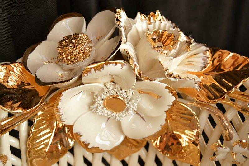 ERATO - Złotem Kwiaty ręcznie wykonany Szampański i Biały