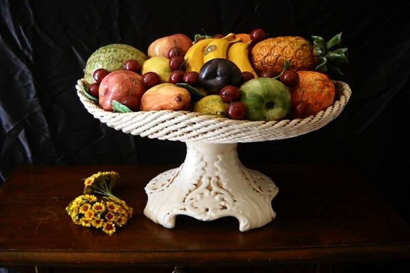 CARAVAGGIO - Alzate e Cesti con Frutta decorati a mano