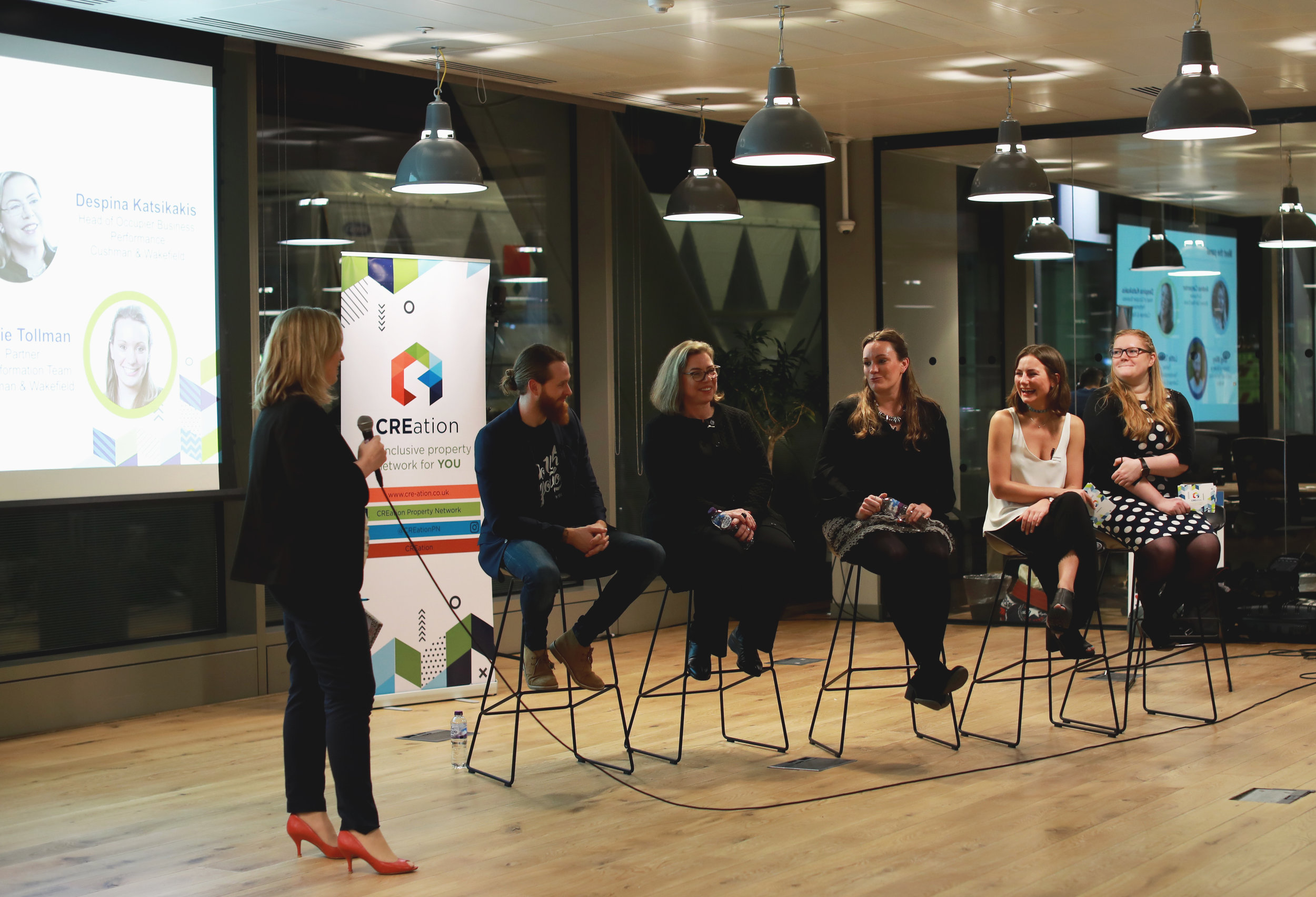 January Launch Event Panel Discussion, CREation  From Left to right: Andrea Carpenter (Women Talk Real Estate), Greg Miley (WeWork), Despina Katsikakis (Cushman & Wakefield), Lottie Tollman (Cushman & Wakefield), Rosanna Lawn (CREation co-founder) and Harri John (CREation co-founder).