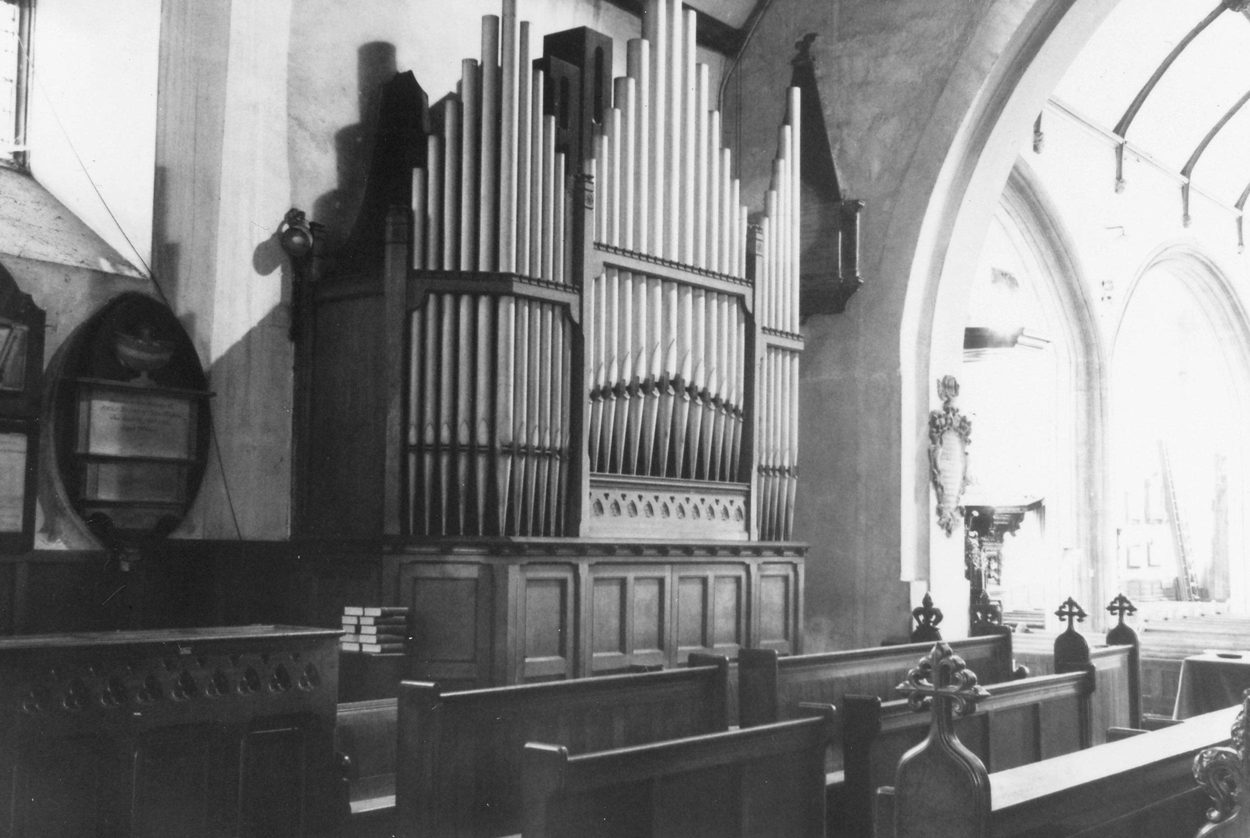 Choir stalls and south side of split organ