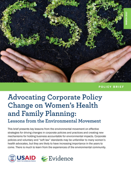 Advocating Corporate Policy Change on Women's Health and Family Planning: Lessons from the Environmental Movement