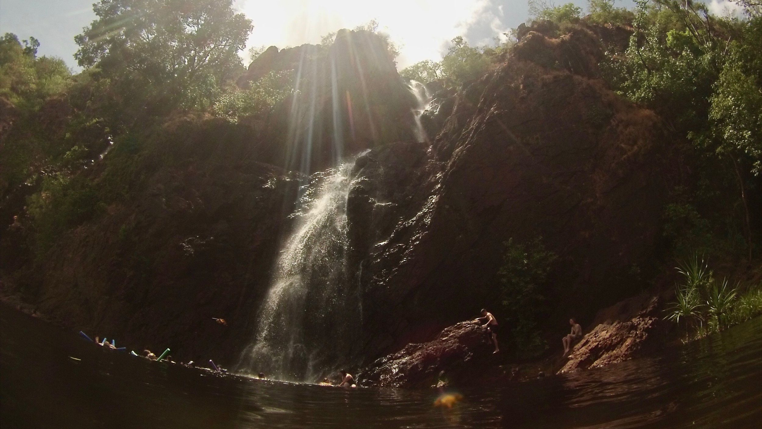 Underneath the waterfalls at Wangi Falls, Litchfied National Park