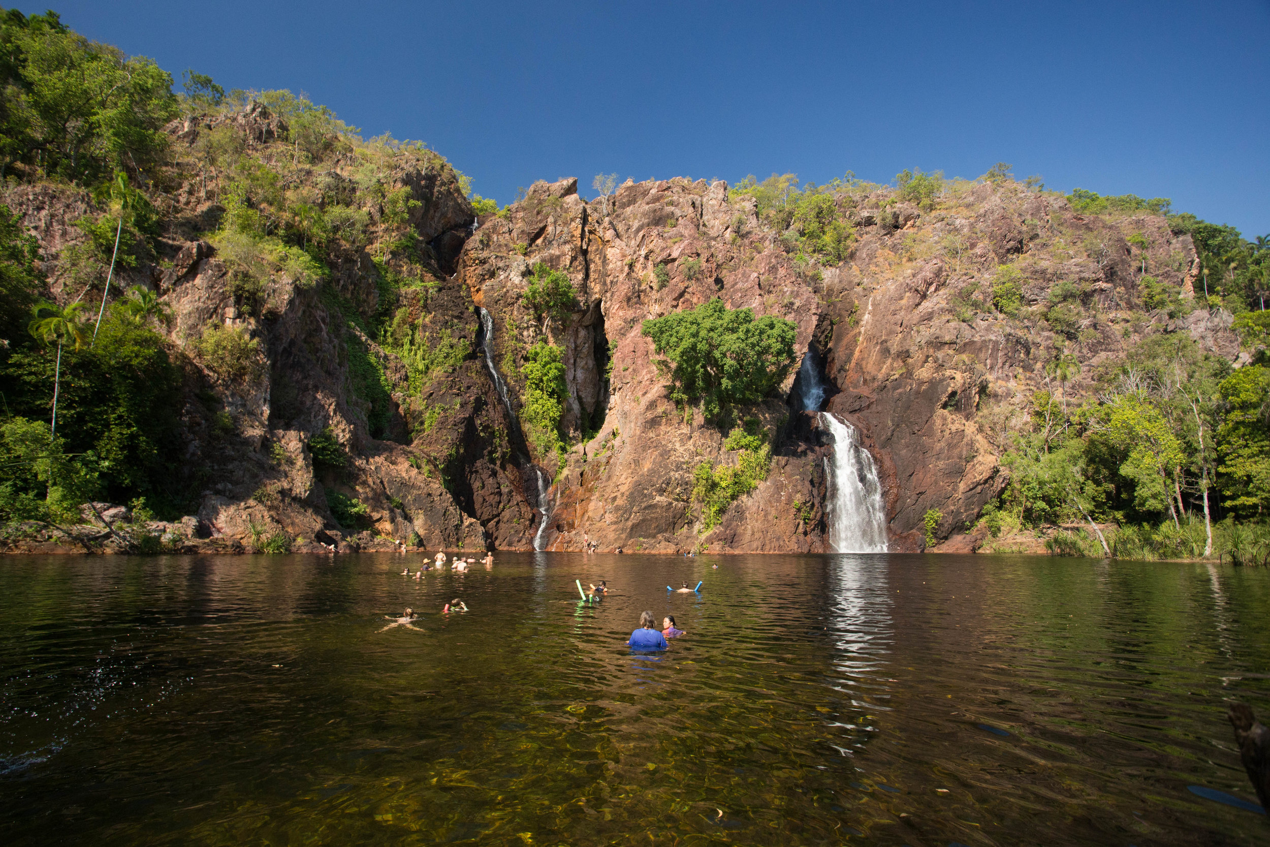 Wangi Falls from the footsteps into the water.