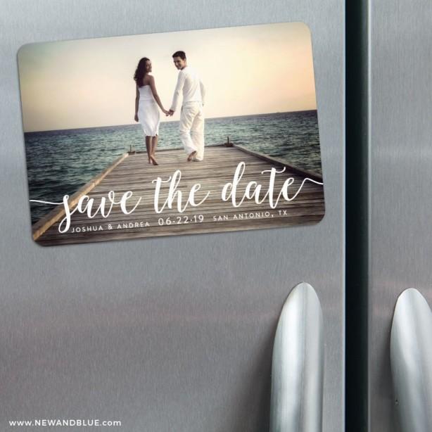 Save-the-Date Magnet für an den Kühlschrank von www.newandblue.com
