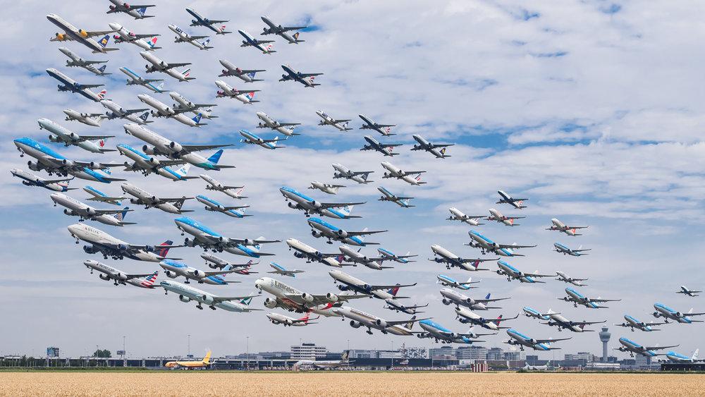 Six hours of departures from Amsterdam Schiphol's Kaagbaan - Mike Kelley