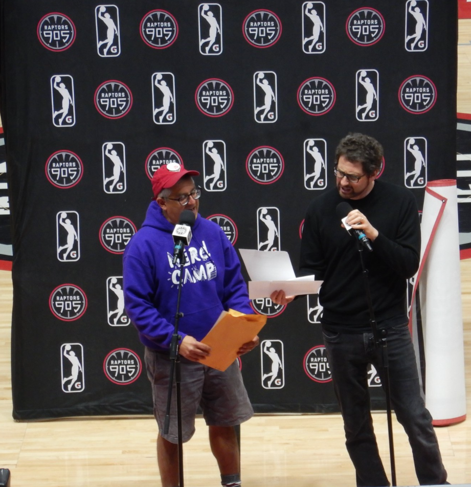 I am also shorter than my friend Kenneth Oppel. This is announcing the winning school from the Raptors905 challenge.
