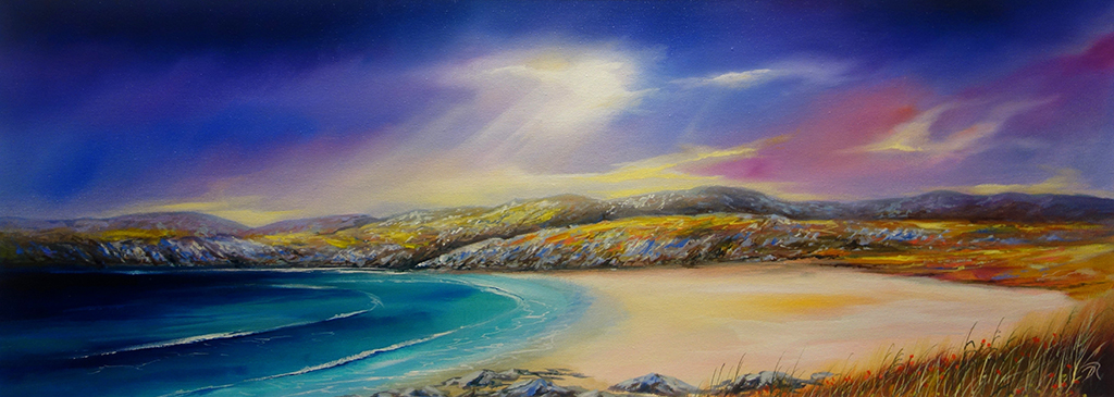 Achmelvich's Shallows in the Dusk - SOLD   2017  |  Oil on Canvas  |  Image size 30cm x 80cm