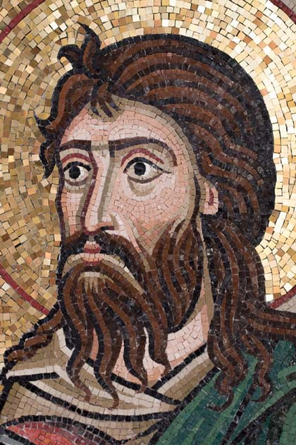 St John the Baptist. The hair lines are simplified to avoid the need for fussy cutting of tesserae
