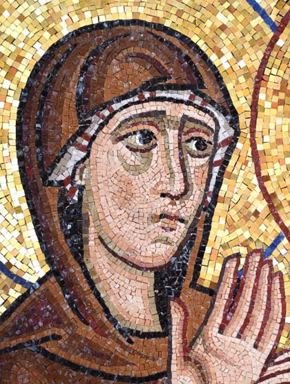 Mary Magdalene, showing smaller tesserae for the flesh areas