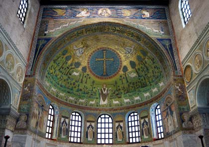 Sant'Apollinare in Classe mosaic. Apse 6th century, triumphal arch 7th -12th century. Photo by Steven Zucker.
