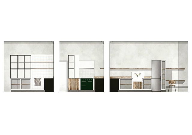 Design for a kitchen in a regency apartment. Reclaimed timber and marble with industrial tiles and bespoke glazing in front of the beautiful exposed lime plaster walls