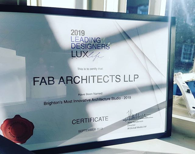 Really pleased to have been named Brighton's Most Innovative Architecture Studio in the 2019 @_luxlifemag Leading Designer Awards