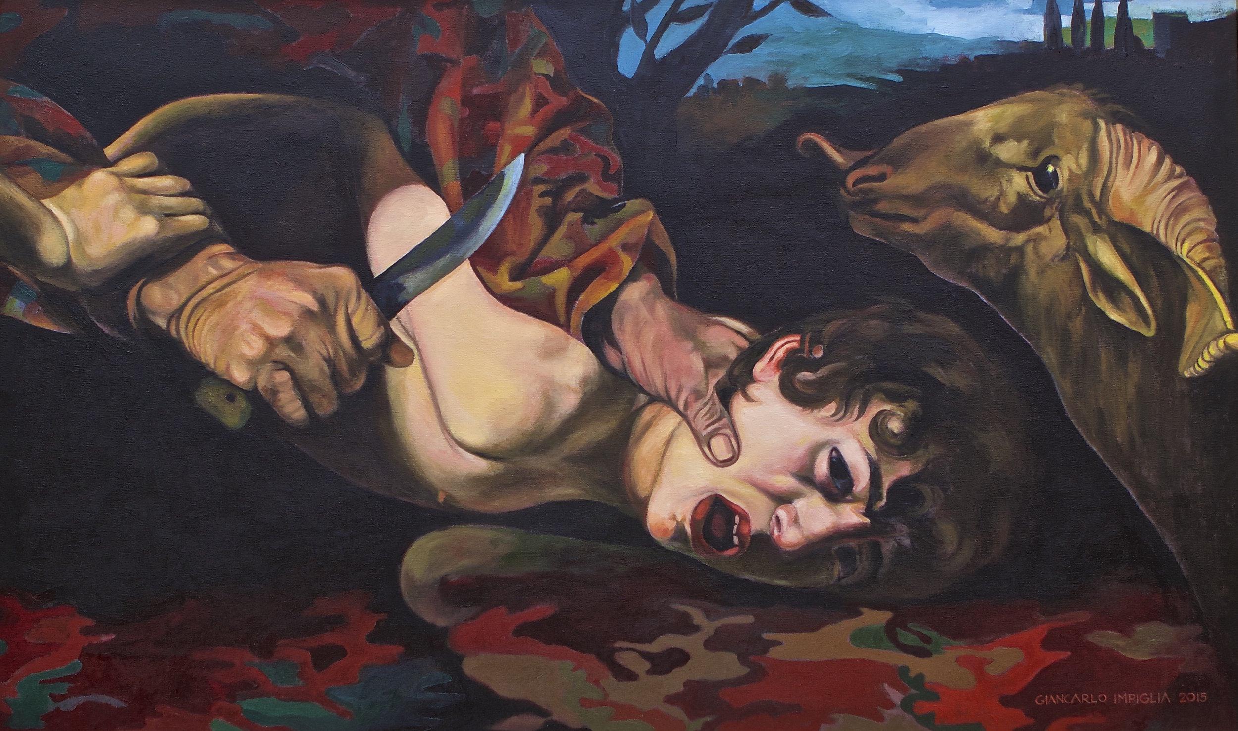 """The Sacrifice , 2015, Oil on camouflage canvas, 50 x 30"""""""