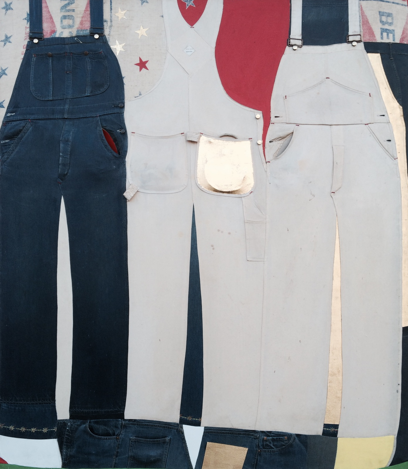 White, Blue, White, Red, and Gold ,   1968–73, mixed media assemblage, 62 x 70""