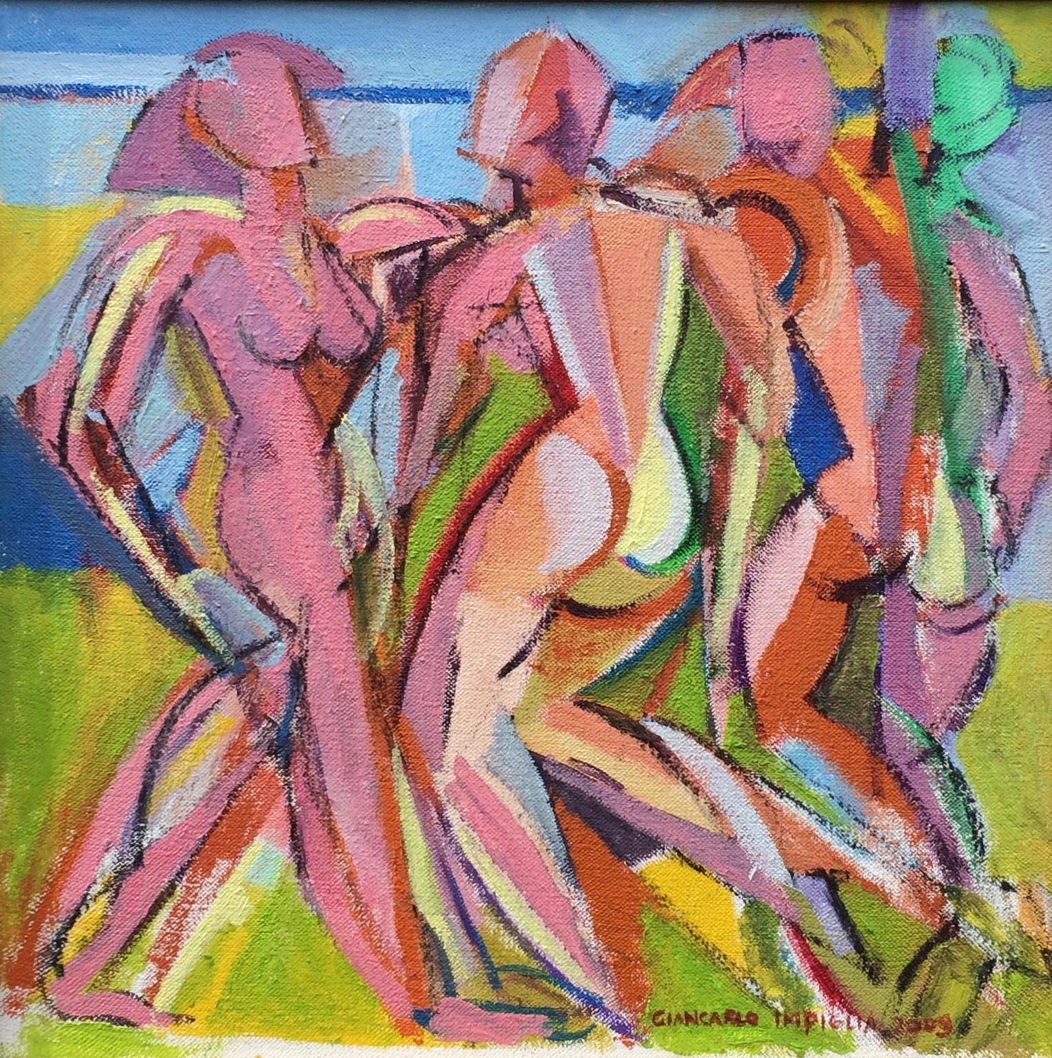 Summer Nudes , 2009, Oil on canvas 15.5 x 16.5""