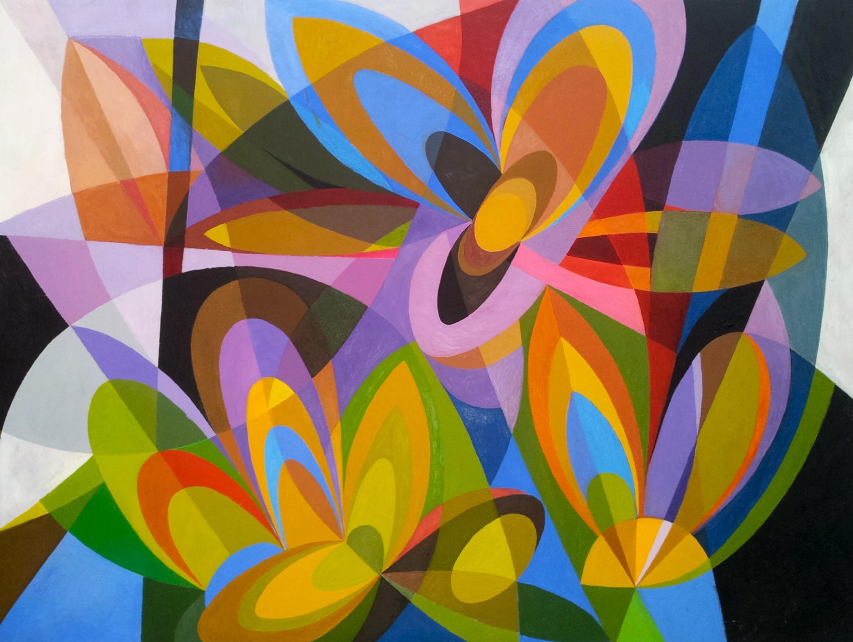 "Fireflies , 2000, Acrylic on canvas, 42 x 35"""