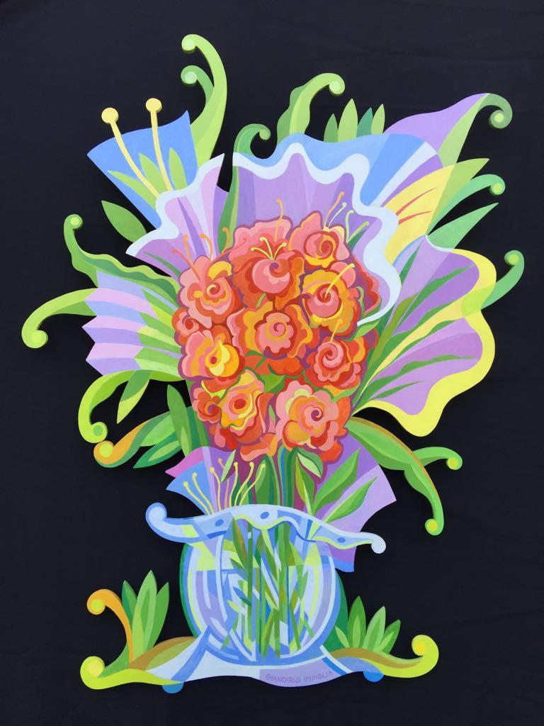 "Fiori , 2017, Acrylic and enamel on hand-cut honeycomb aluminum, 48 x 60"""