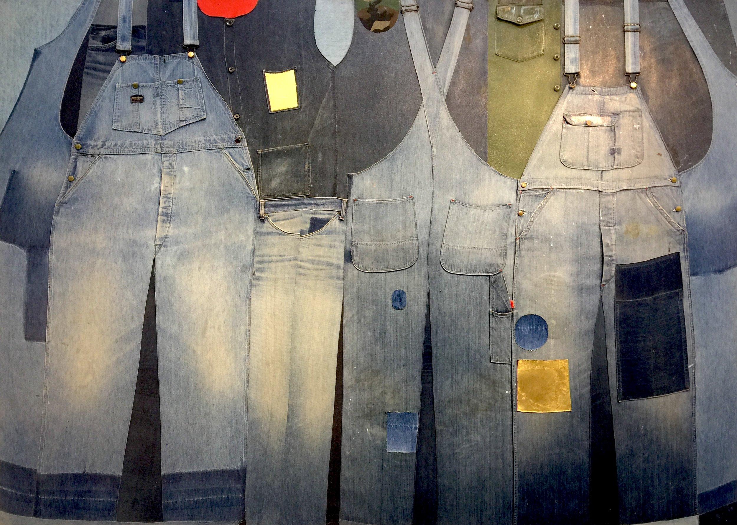 "Mass Movement , 1973–4, mixed media assemblage, 68 x 95"""