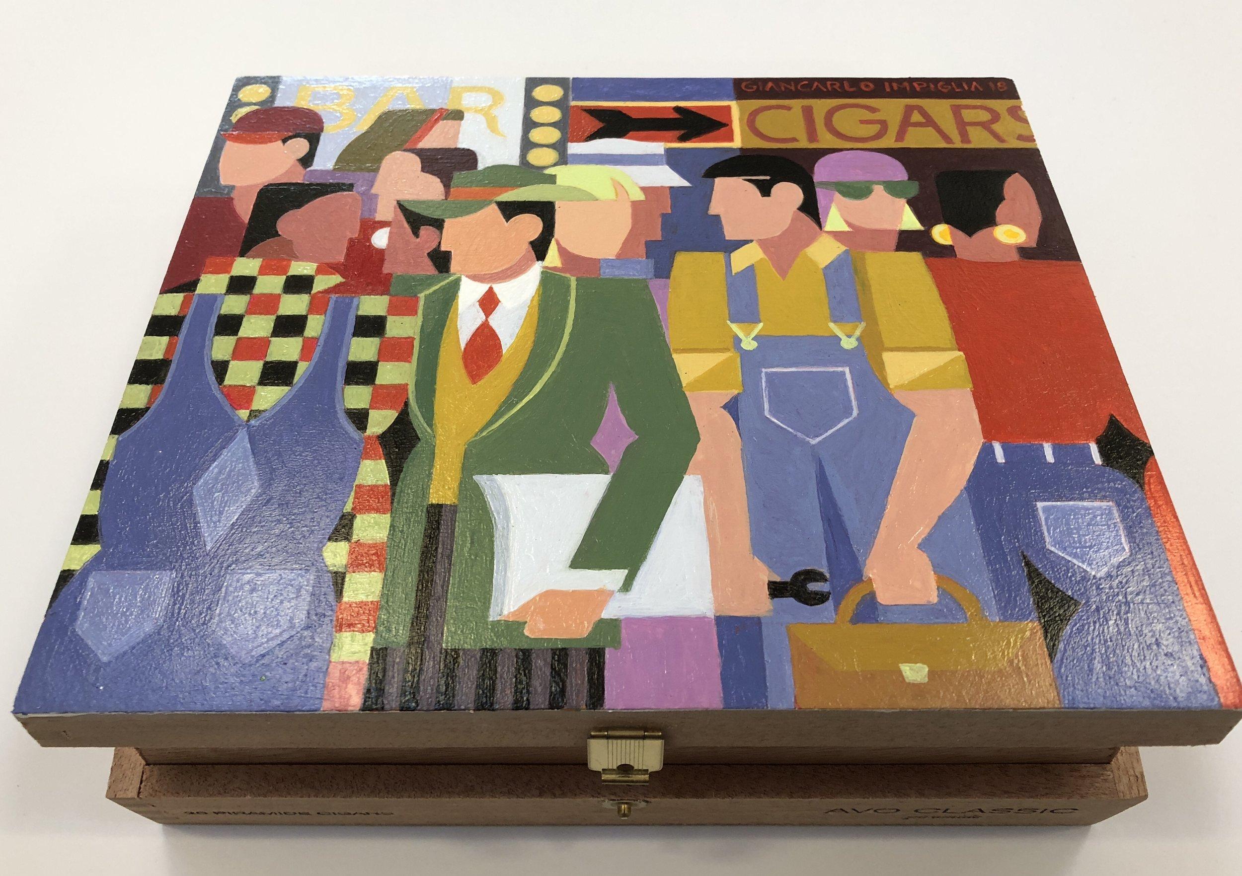 Cigar Box I, 2018, Oil on wood