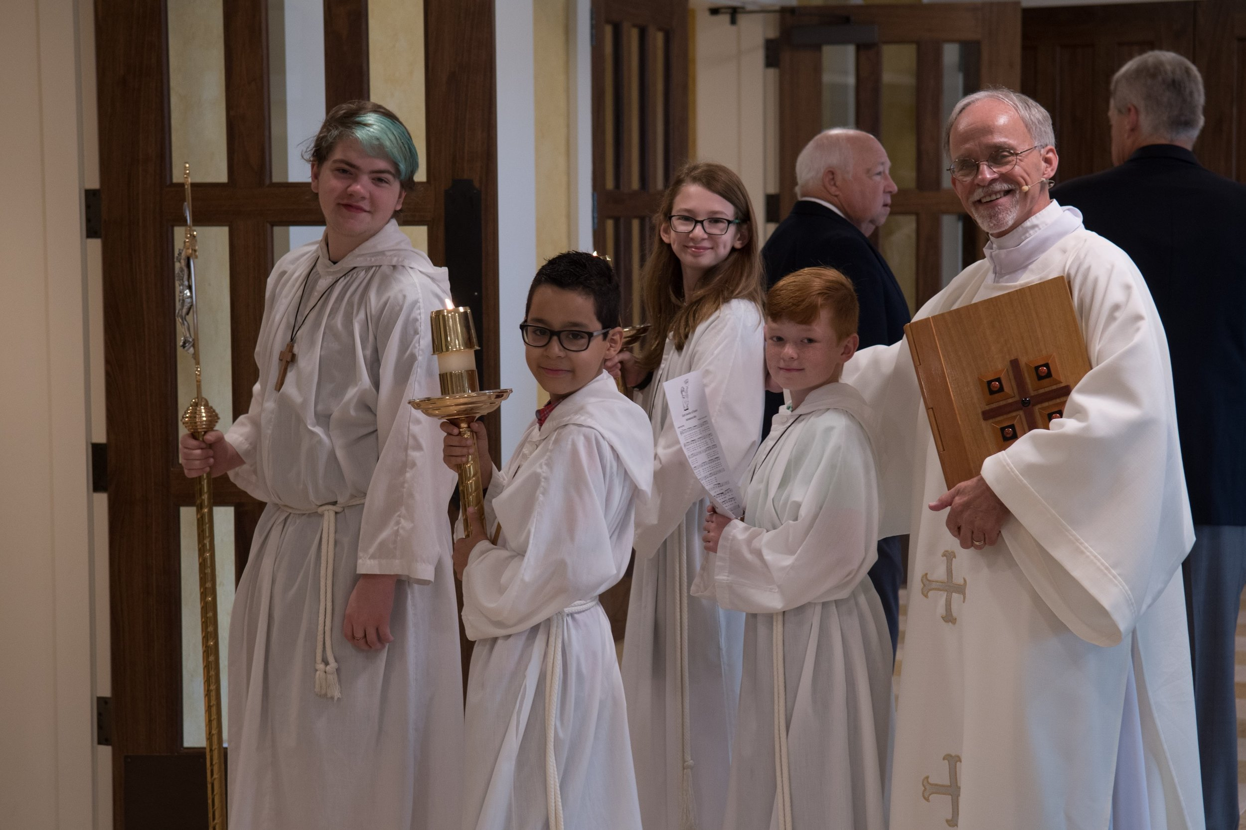 Altar Server - The primary role of the altar server is to assist the priest in the celebration of the liturgy during Mass. Servers carry out specific actions and set an example for the congregation by active participation in the liturgy.