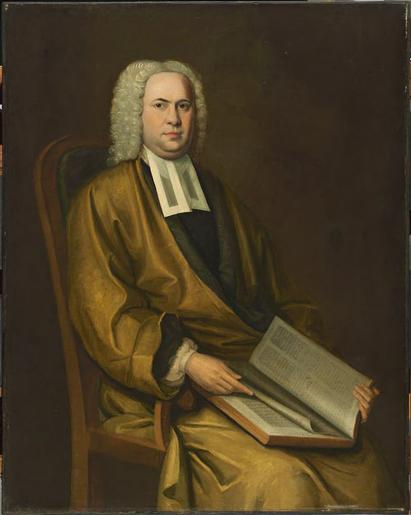 Nathaniel Smibert,  Portrait of a Cleric (Charles Chauncy? ), ca. 1755–1756. Oil on canvas. Harvard University Portrait Collection, Gift of Pres. Quincy, F. C. Lowell, R. G. Shaw, and sundry members of the Board to Harvard College, 1847.