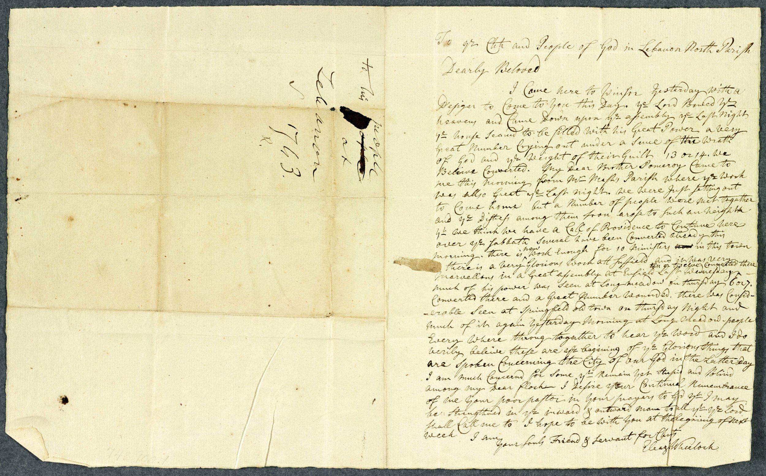 Eleazar Wheelock to the North Parish Church, July 11, 1741. Courtesy of Dartmouth College Library.