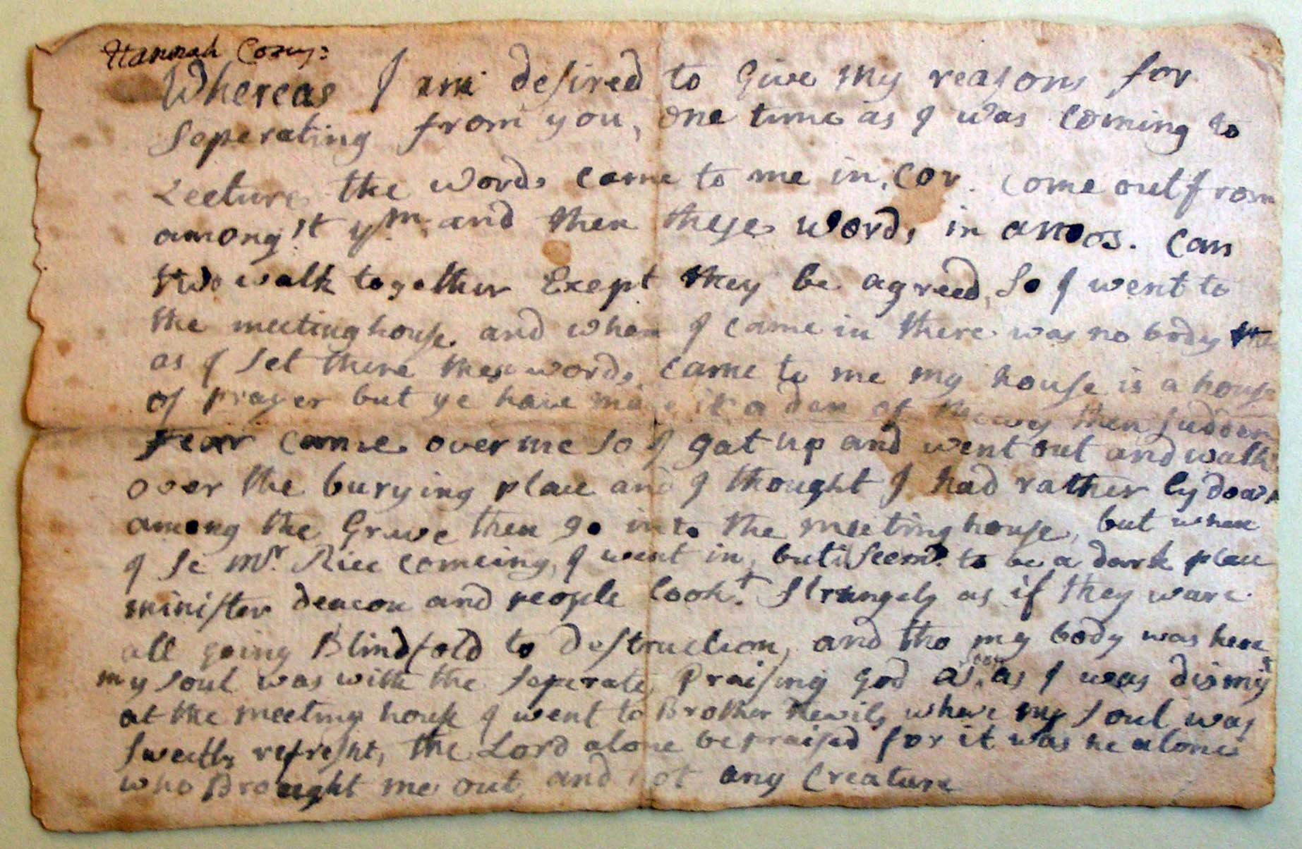 Testimony of Hannah Corey, April 5, 1749, Sturbridge, Mass., Separatist Congregational Church Records, 1745–1762, Congregational Library, Boston (available online at  NEHH )