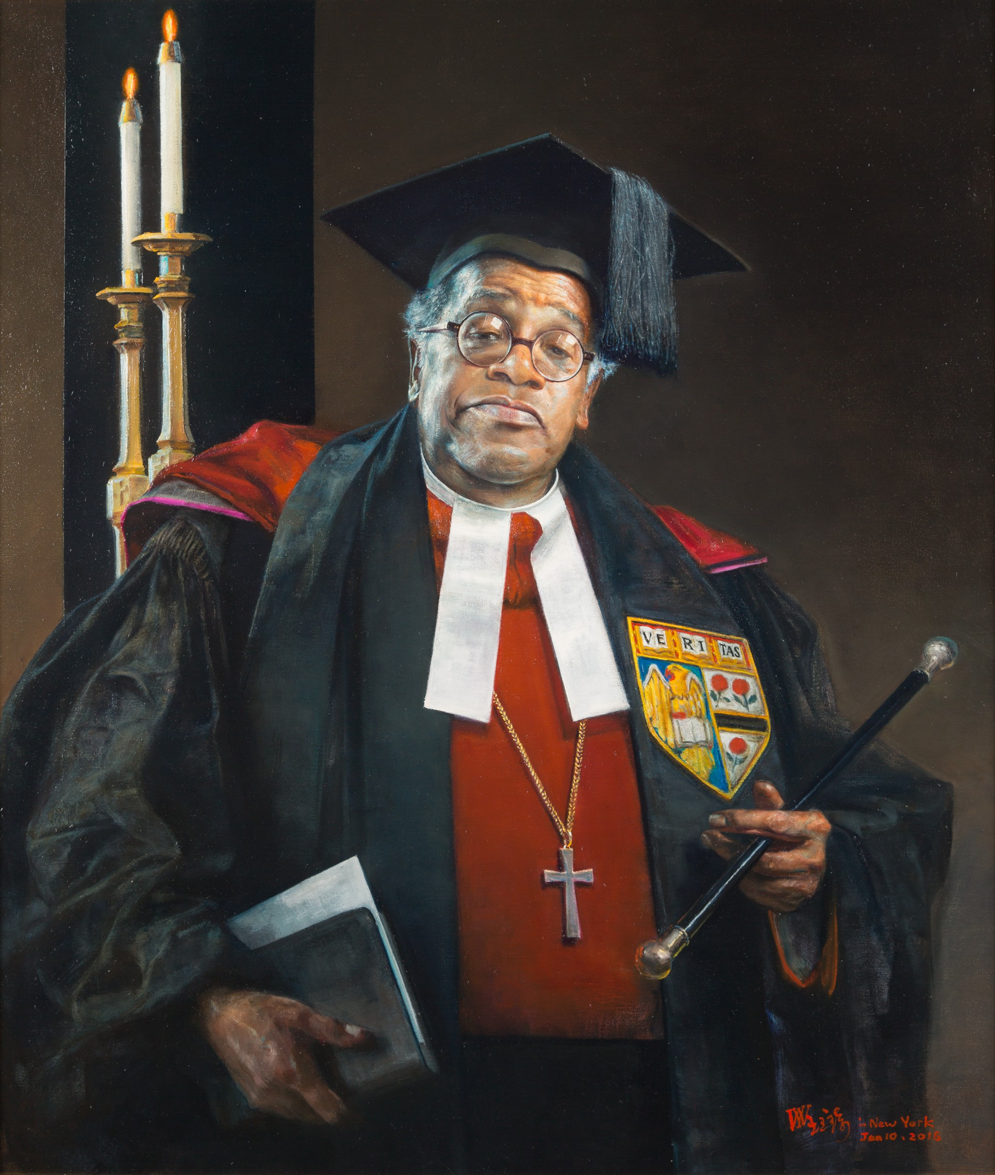 Yuqi Wang,  Peter Gomes  (2015). Oil on canvas, 101.6 x 86.4 cm. Harvard University Portrait Collection.