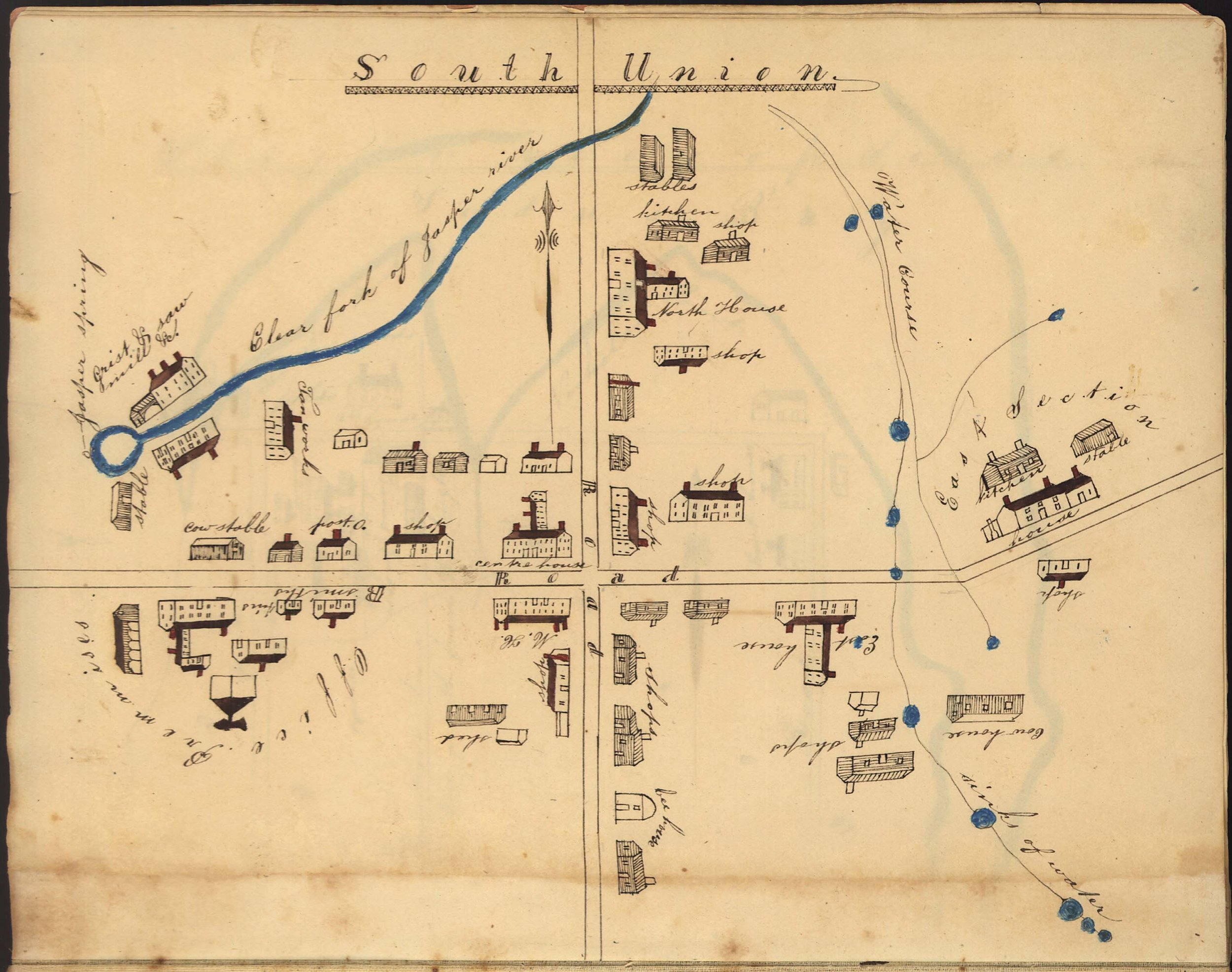 "Callaway spent his last years in the East Section dwelling house at South Union Shaker village, near Bowling Green, Kentucky. Isaac N. Young and George Kendall, ""Sketches of the various Societies of Belivers in the states of Ohio & Kentucky,"" 1835, Geography and Map Division, Library of Congress, Washington, D.C."
