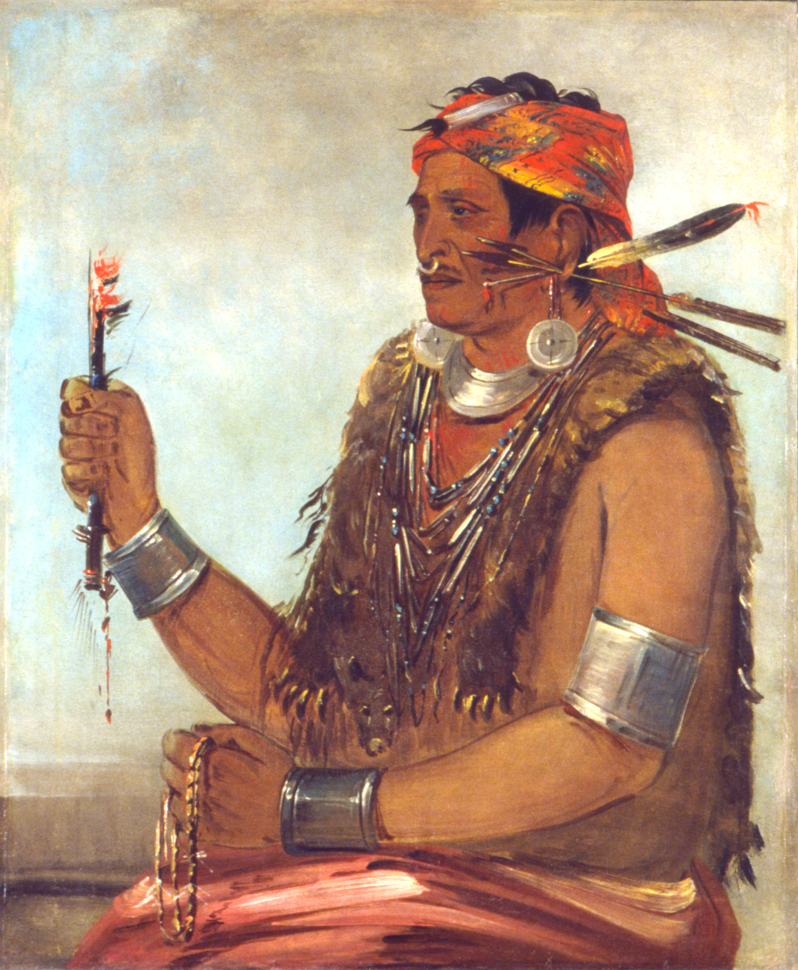 George Catlin,  Ten-sqúat-a-way, The Open Door, Known as The Prophet, Brother of Tecumseh,  1830, oil on canvas, Smithsonian American Art Museum, Gift of Mrs. Joseph Harrison, Jr., 1985.66.279.