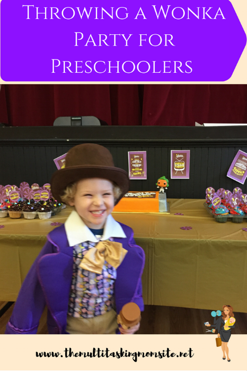 A complete breakdown of throwing a Willy Wonka themed party including activities, decor, cake, invitations, and of course a candy bar.