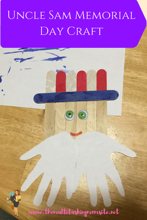 Create a fun and festive Memorial Day craft with your kids. Use craft sticks and paint to make an Uncle Sam to decorate your wall or mantle.