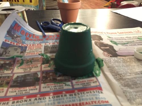 Leprechaun craft paint drying