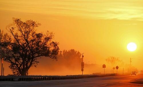 Dawn on a sunny day