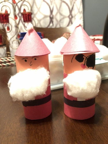 Our finished toilet paper roll Santas