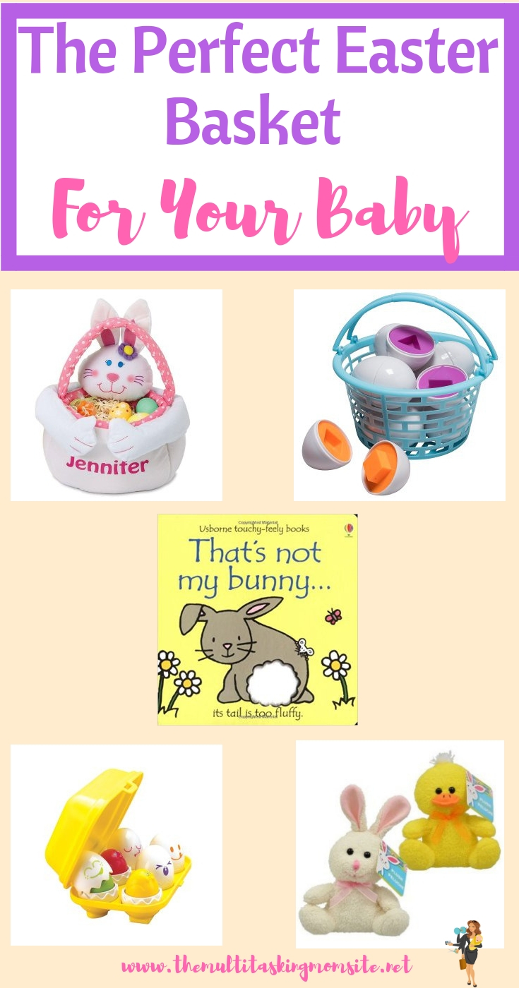 Your guide for putting together Easter baskets for babies including what kind of basket to get and what to include that your baby will enjoy.